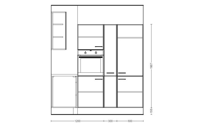Marken-Einbauküche IP1200 in burgundrot, AEG-Geschirrspüler