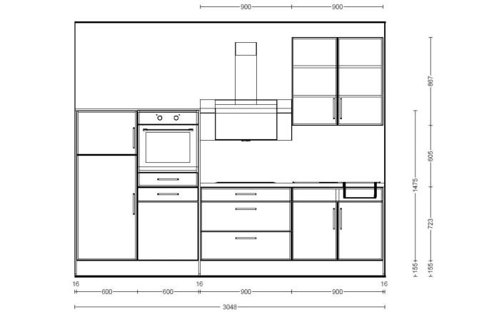 Marken-Einbauküche IP3050 in hellgrau Hochglanz, Geschirrspüler SN614X00AE von Siemens