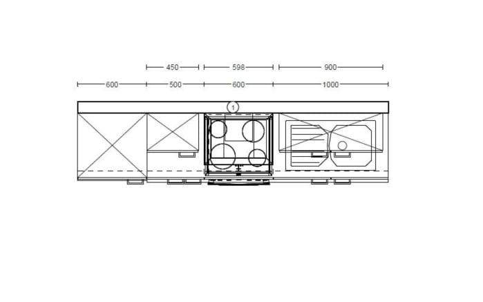 Marken-Einbauküche IP 1200 in weiß, AEG Kühlschrank