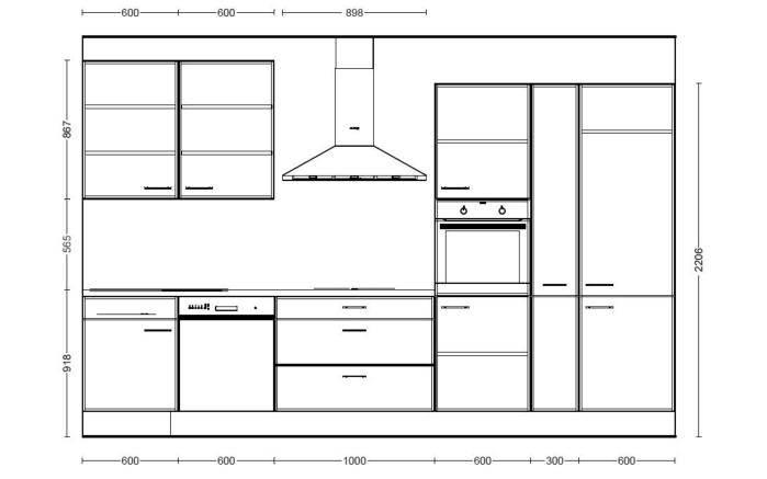 Einbauküche IP4050, schwarz Hochglanz, inklusive Elektrogeräte, inklusive AEG Geschirrspüler-05
