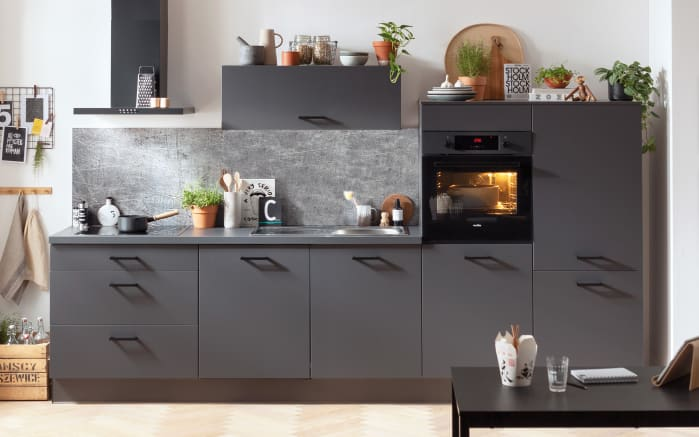 Einbauküche IP1200, graphit, inklusive Privileg Elektrogeräte