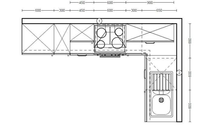 Einbauküche 270 in weiß Hochglanz, Neff-Geschirrspüler