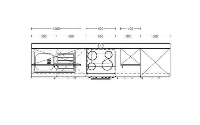 Einbauküche PN 80 in platingrau, Neff-Geschirrspüler