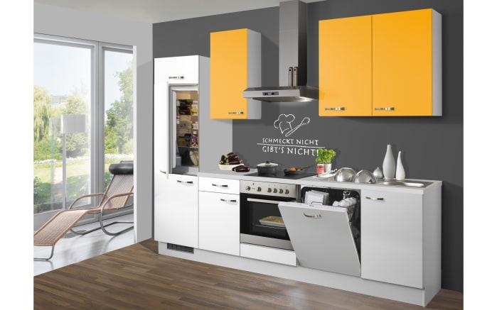 Einbauküche Pino 80 in weiß/mangogelb, Siemens-Geschirrspüler SN614X00AE