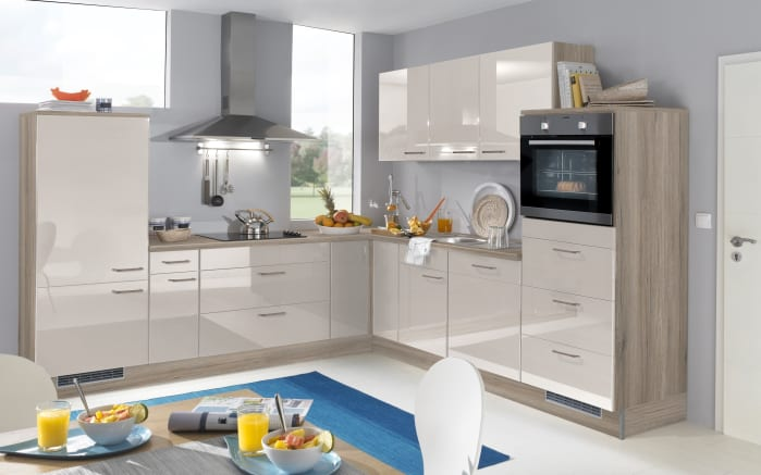 Einbauküche 744 PN400 655 sandbeige Hochglanz, Zanker Geschirrspüler KDT10003FB