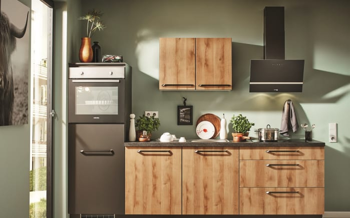 Einbauküche P100 in Honig Eiche-Optik, Zanker Geschirrspüler KDT10003FB