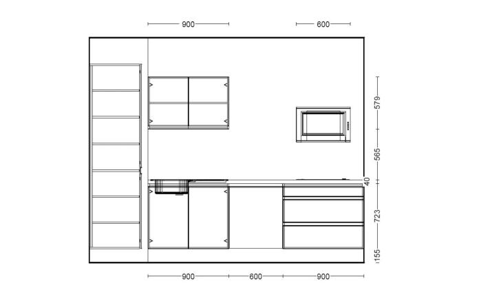 Einbauküche PN490 in weiß matt, Siemens Geschirrspüler SN614X00AE