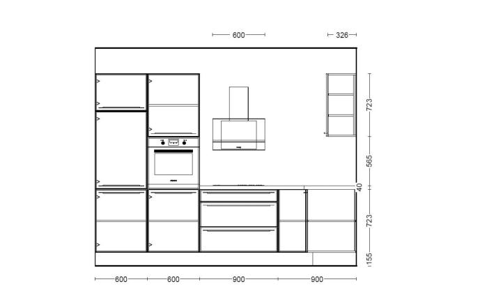 Einbauküche PN100 Beton weißgrau Optik, Zanker Geschirrspüler KDT10003FB