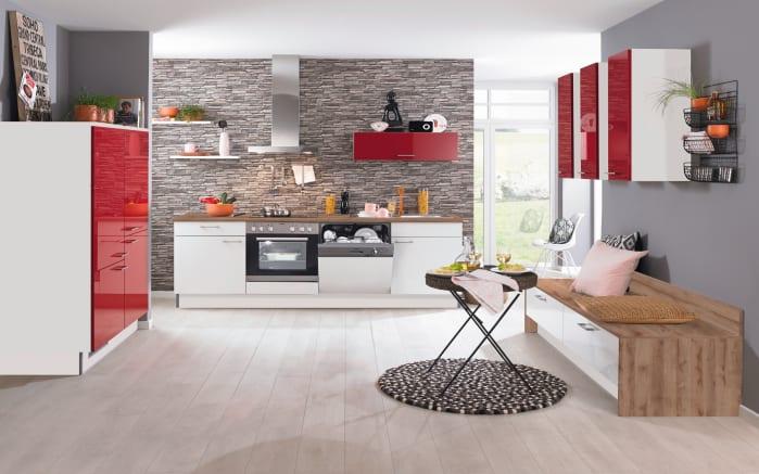 Einbauküche PN270, weiß/rot, inklusive Elektrogeräte-01