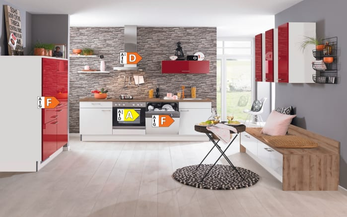 Einbauküche PN270, weiß/rot, inklusive Elektrogeräte-05