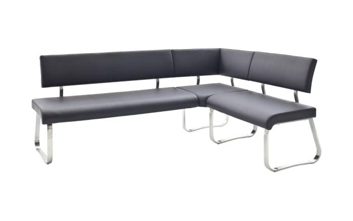 Eckbank Arco aus Kunstleder in schwarz, mit Metallgestell-01
