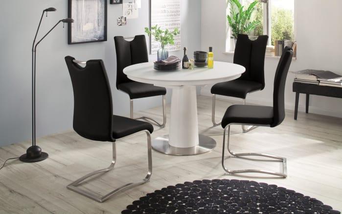 Stuhlgruppe Artos 2 / Waris in schwarz / weiß, mit Tischplatte aus Glas-01