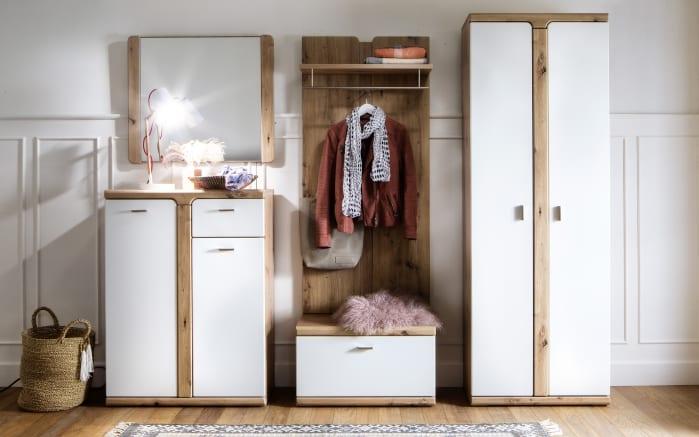 Garderobenkombi Torino in weiß, Absetzung in Balkeneiche-Optik