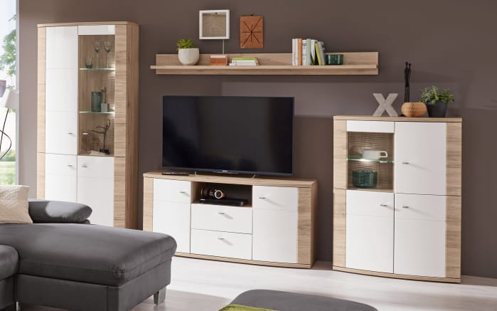 wohnwand malaga in wei eiche san remo sand online bei hardeck kaufen. Black Bedroom Furniture Sets. Home Design Ideas