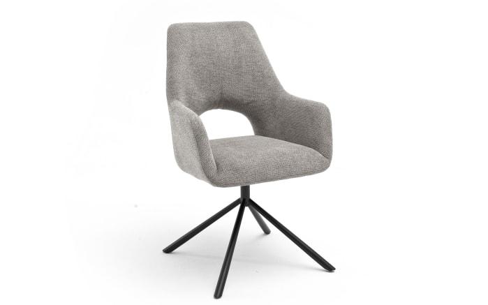 Armlehnenstuhl 3099 in schlamm / Rundrohrgestell in schwarz matt lackiert-01