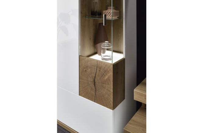 Wohnwand Sylt in weiß, mit Glaselementen