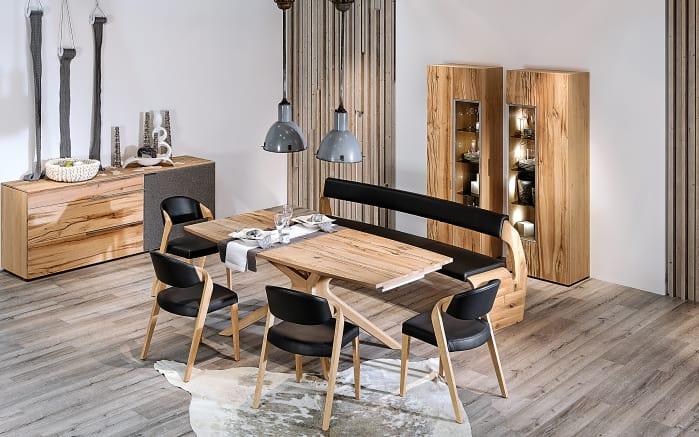 stuhlgruppe v alpin in leder schwarz eiche altholz online bei hardeck kaufen. Black Bedroom Furniture Sets. Home Design Ideas