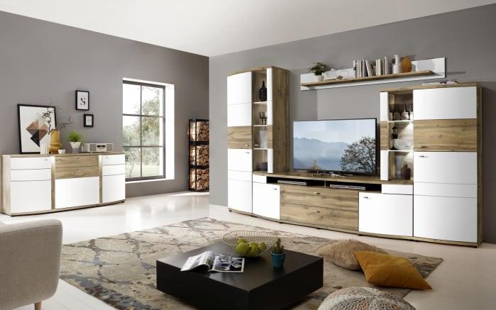 Wohnwand Terra Plus in weiß matt / Eiche Altholz-Nachbildung, mit Softclose-Funktion-02