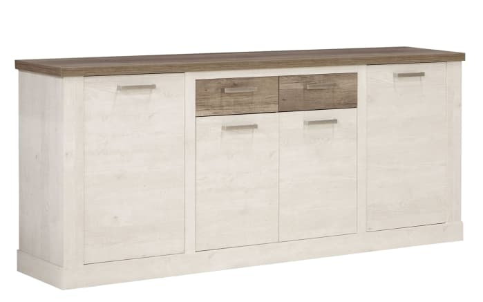 Sideboard Duro in Pinie-Optik weiß/Eiche-Optik antik