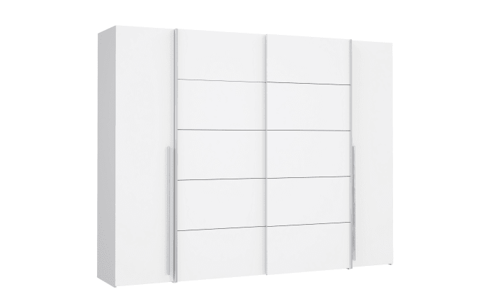 Kleiderschrank Narago in weiß, Breite 270 cm, mit 2 Dreh- und 2 Schwebetüren