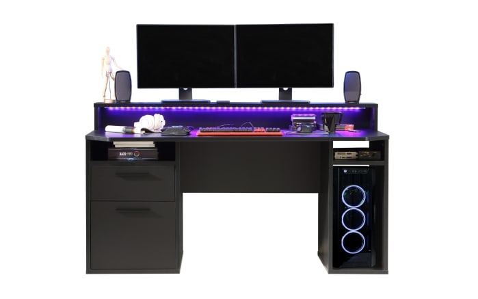 Schreibtisch Tezaur in schwarz Matt, inklusive Schubkasten und Tür
