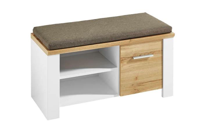Sitzbank 6011 in matt weiß/Eiche-Altholz-Optik