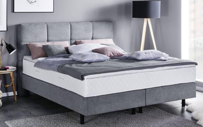 boxspringbett santiago in grau kopfteil mit. Black Bedroom Furniture Sets. Home Design Ideas