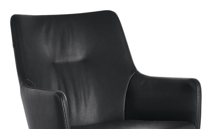Armlehnenstuhl WK 722 aus Leder in schwarz