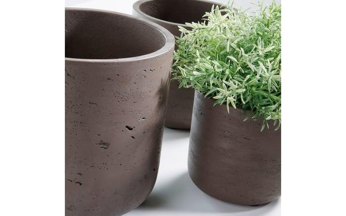 Pflanzengefäß im 3er-Set in dunkelbraun, 18 cm
