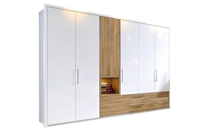 Kleiderschrank Zamaro in bianco weiß Hochglanz/Eiche-Nachbildung, Breite ca. 302 cm-01