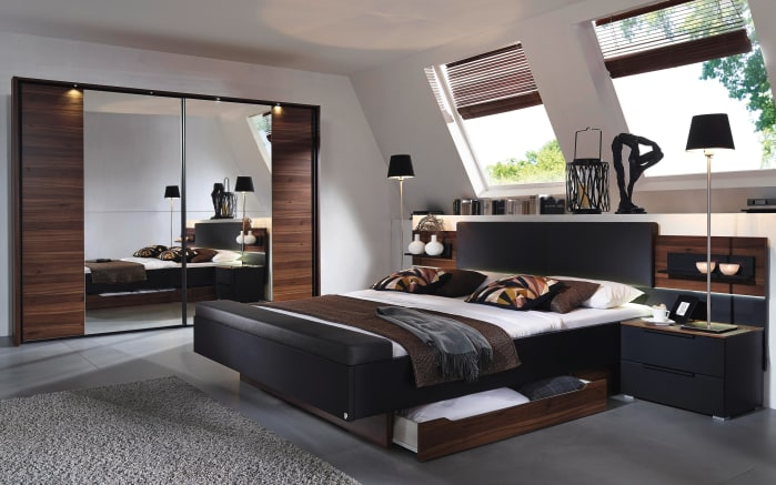 schlafzimmer amado in schwarz nussbaum optik online bei hardeck kaufen. Black Bedroom Furniture Sets. Home Design Ideas