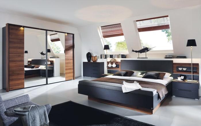 Schlafzimmer Amado in schwarz/Nussbaum-Optik