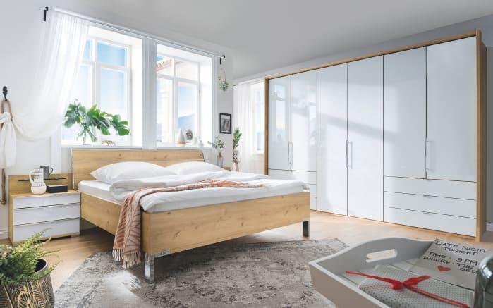 Schlafzimmer Loft in weiß/Bianco Eiche-Nachbildung, Liegefläche 180 x 200 cm, Schrankbreite 300cm -01