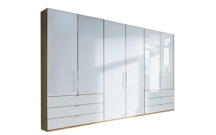 Schlafzimmer Loft in weiß/Bianco Eiche-Nachbildung, Liegefläche 180 x 200 cm, Schrankbreite 300cm -02