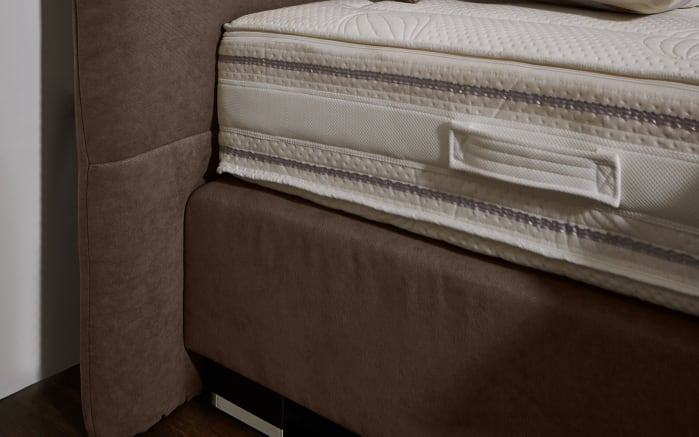 Boxspringbett Prodomo-Comfort in Billie nougart, Liegefläche ca. 180 x 200 cm, Matratzen Härtegrad 2 und Härtegrad 3-03