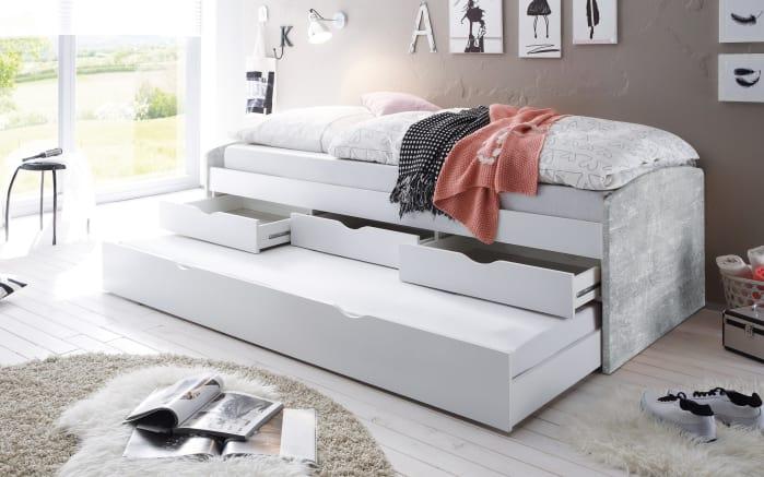 Tandemliege Nessi in betonfarbig/weiß-02