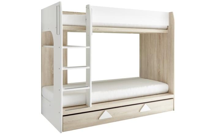 Etagenbett Maja in weiß/Eiche Sonoma-Optik