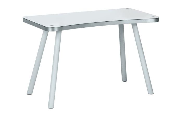 Computer- und Schreibtisch in Aluoptik/weiß