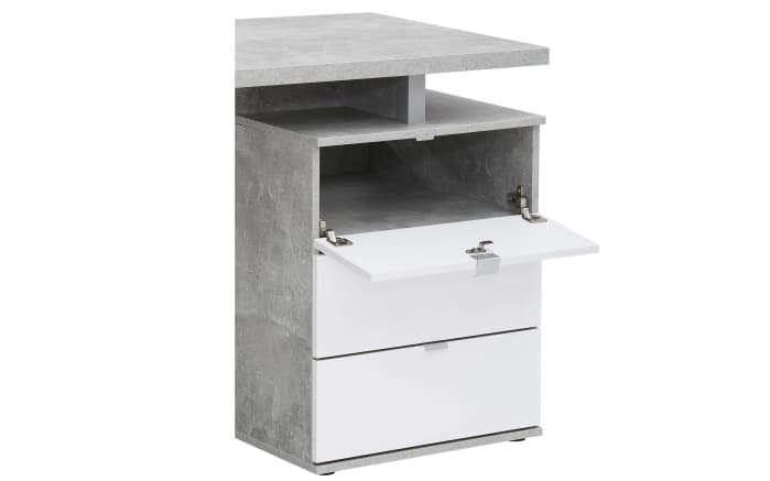 Schreibtisch in Betonoptik/weiß