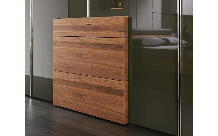 Schlafzimmer Gentis in Lack-Hochglanz grau/Kernnussbaum Naturstamm