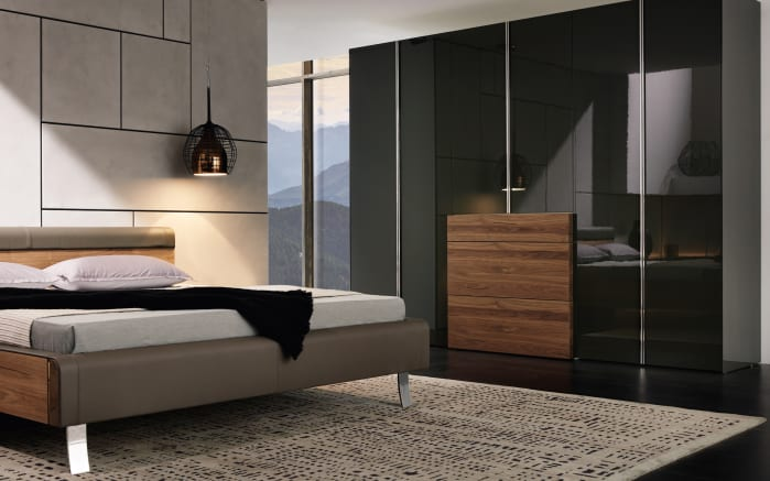 schlafzimmer gentis in lack hochglanz grau kernnussbaum. Black Bedroom Furniture Sets. Home Design Ideas