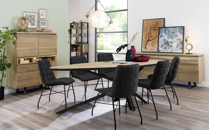 Stuhlgruppe Ibis/Hadios aus furnierter Eiche/schwarz