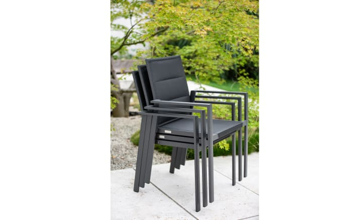 Garten-Stapelstuhl Nancer in schwarz/grau