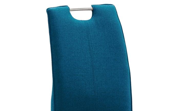 Schwingstuhl Messina in blau-grün, Gestell in Edelstahl