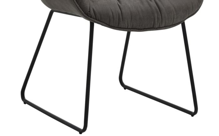 Sessel Fluffy in graphit, mit schwarzem Kufengestell aus Eisen-05
