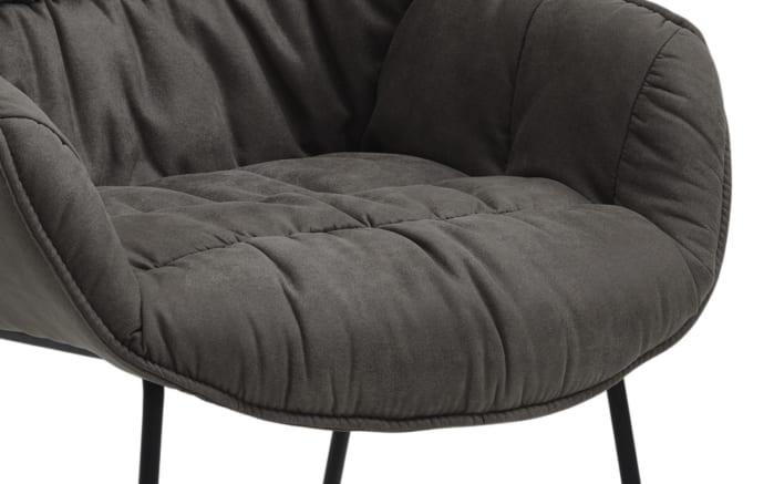 Sessel Fluffy in graphit, mit schwarzem Kufengestell aus Eisen-03