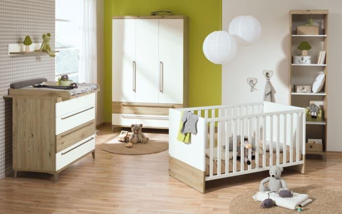 Kinderbett Remo in kreideweiß/bordeaux-Eiche-Optik