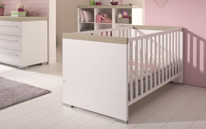 Kinderbett Kira in kreideweiß/Eiche-Nautik-Nachbildung-01