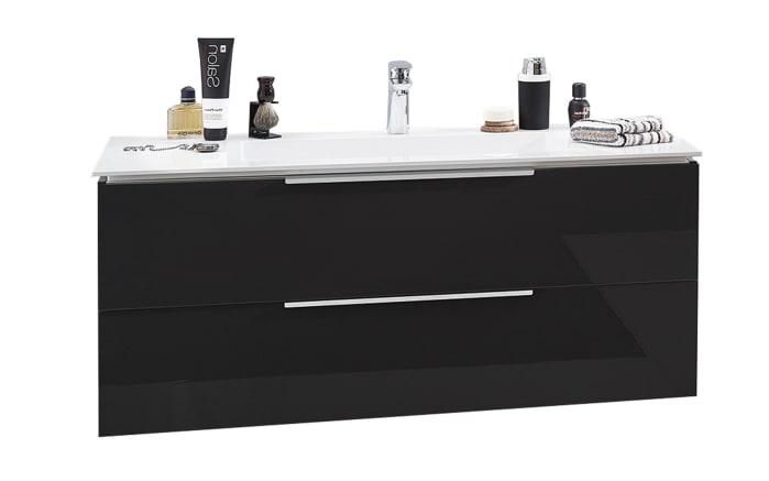 Set Mineralgußwaschtisch & Waschtischunterschrank Slim Line in Lack carbon Hochglanz-01
