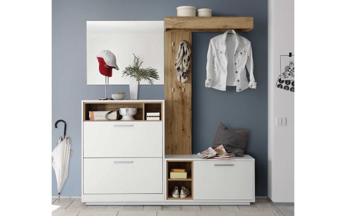 Garderobenkombination Milano in weiß/Wildeiche-Nachbildung